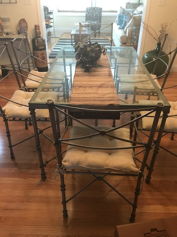 Used Pier One Pewter Table With Glass And Chairs For Sale In