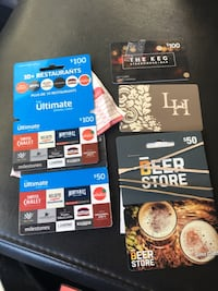 Various gift cards(150$ worth of ultimate dining cards,100$ keg,50$ beer store,and 100$ for Langdon hall spa and resort) all still have original allotted amount with the ability to verify the balance at the time of purchase. Cambridge, N3H 5L8