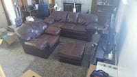 brown leather sectional couch and ottoman West Valley City, 84120