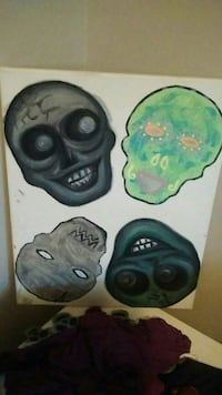 Skulls painted on canvas board 2868 km