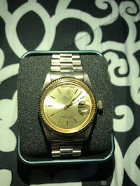 round gold-colored Rolex analog watch with link bracelet Reston, 20191