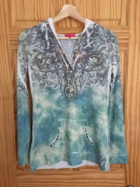 Gray and white floral zip-up hoodie size medium Montréal, H3H