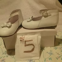 pair of white leather ankle strap wedge sandals Winchester, 22602