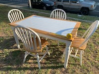 White Tile and Solid Wood Table w/ 4 Matching Chairs Ventura