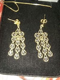 14 k Beaded Gold Dangle Earrings Hampton, 23663