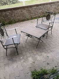 2 chaise fer forgé table
