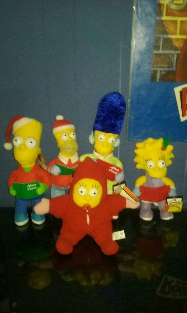 The Simpsons Christmas edition stuffed toys. d97a695f-cb81-4349-9013-fbc20ca97488