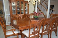 rectangular brown wooden table with six chairs dining set LEESBURG