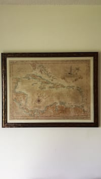 Professionally matted 28x30 Caribbean map Manchester, 03109