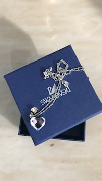 silver Swarovski necklace with heart pendant on box Vaughan, L0J 1C0
