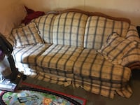 brown and black fabric 3-seat sofa South Whitley, 46787