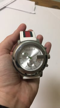 round silver-colored chronograph watch with white strap Germantown, 20874