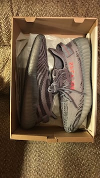pair of gray Adidas Yeezy Boost 350 v2