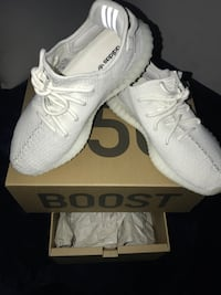 Pair of white adidas yeezy boost 350 with box Los Angeles
