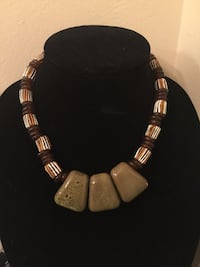 white brown and beige beaded collar necklace]\ Upper St. Clair, 15241