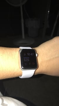 space gray aluminum case Apple Watch with white sports band Redlands, 92374