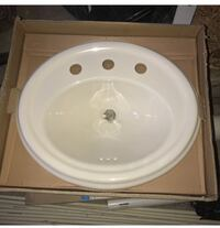 Round white ceramic bathroom sink with box Baltimore