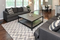 "Gray & Cream Chevron VE22 Savanna Area Rug (9'6"" x 7'6"") Charlotte"