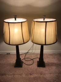 two black-and-brown table lamps