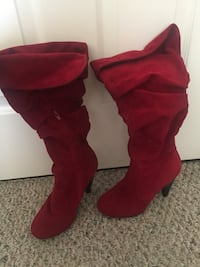 pair of red suede knee-high boots Fairfax, 22030