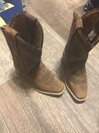 girls pair of brown suede  cowboy boots size 10 worn once asking 30 or best offer