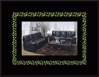 U6900 black bonded leather sofa and loveseat McLean