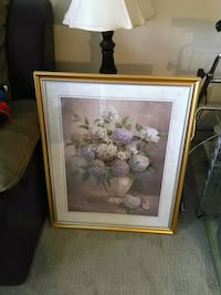white and pink flower painting with brown wooden frame Maple Ridge, V2X 3J2