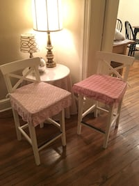2 white barstools with reversible pink cushions. $15 each or $30 total. Washington, 20002