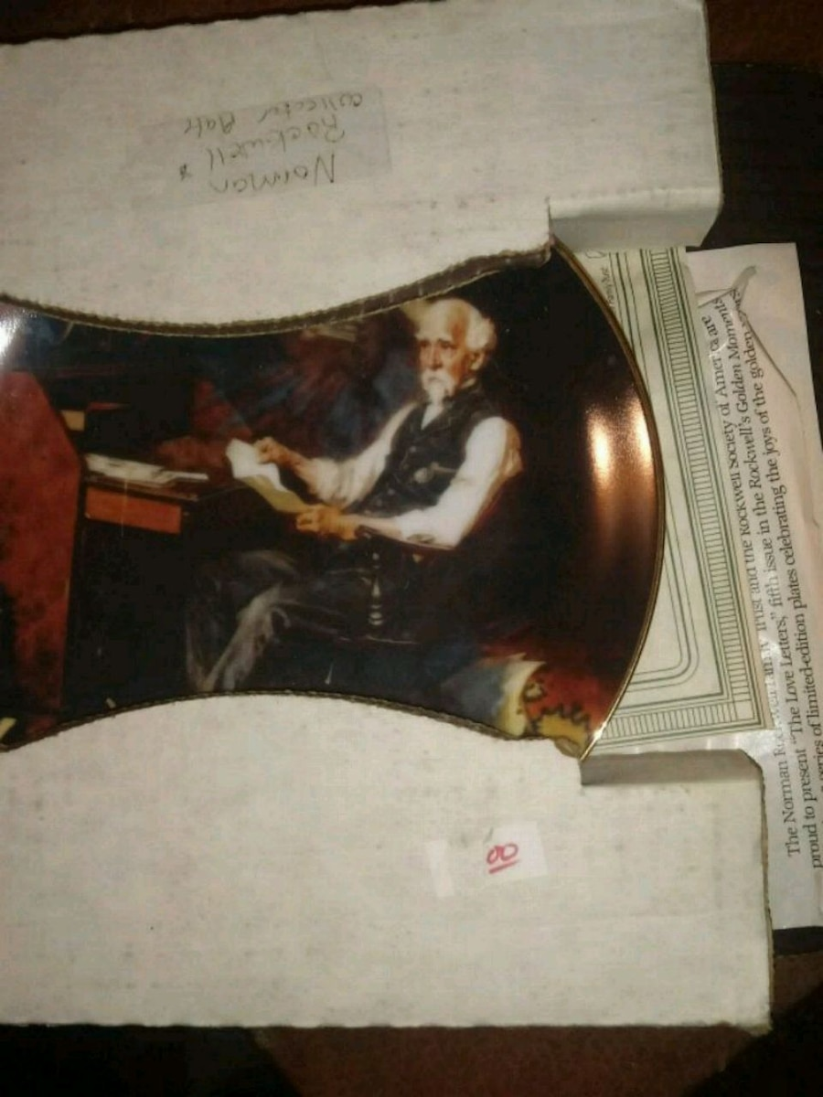 Photo Vintage norman Rockwell plate
