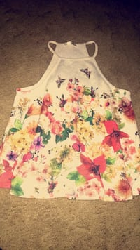 white and pink floral tank top Charleston, 25306