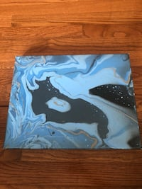blue, black, and white abstract painting