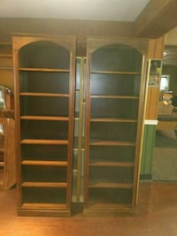 brown wooden framed glass display cabinet Star Tannery, 22654