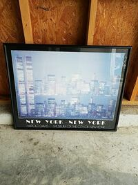 New York Museum poster with black wooden frame