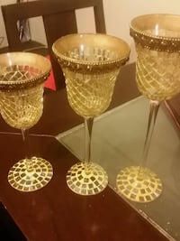 three clear cut glass cups Toronto, M4B 2J1