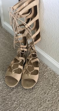 Pair of tan suede open-toe gladiator sandals Fort Mill, 29708