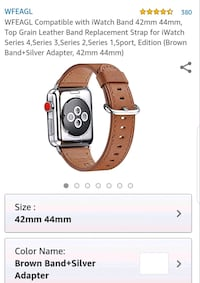 Brown leather Apple iWatch strap  Calgary, T2E 6W5