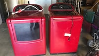 red front-load clothes washer and top-load clothes dryer set