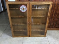 Solid ash hard wood and glass display cabinet