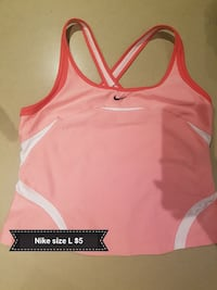 women's size L pink and white Nike tank tops