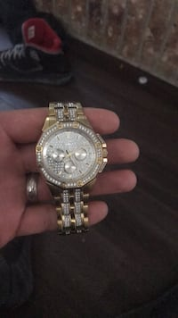round silver chronograph watch with silver link bracelet 1463 mi