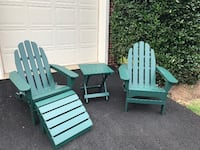 two green wooden adirondack chairs RESTON