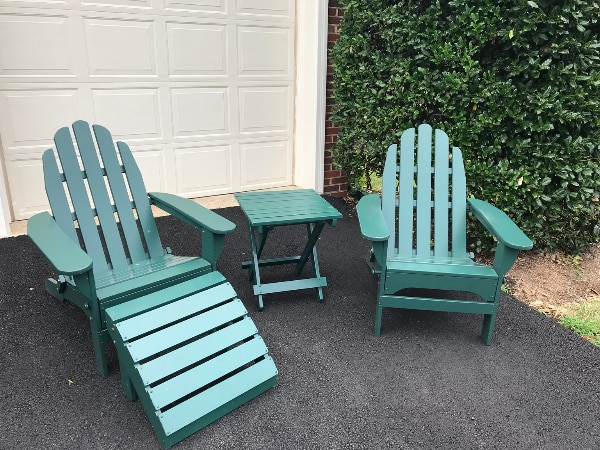 LLBean Adirondack Chairs, Foot Stool and Side Table