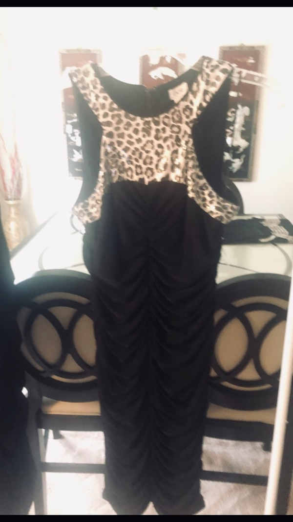 Black, and animal print ruched evening dress from Cache, worn once, size 8