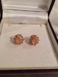 Gold Earrings with Pink Opal Stone