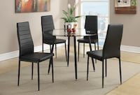 round glass top table with four chairs dining set 33012