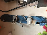 blue snowboard with bindings