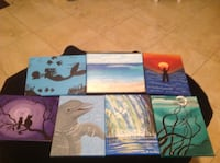 Dolphin,mermaid, dragonfly pictures hand painted on canvas