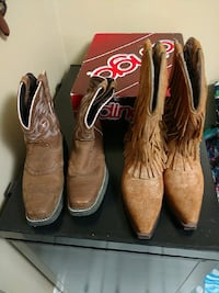 pairs of brown cowboy boots