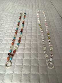 Two long beaded necklaces homemade $10 each