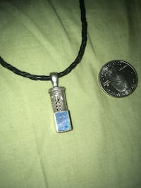 Silver pendant leather necklace